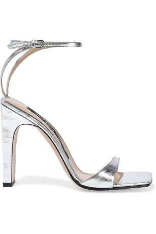 Silver Metallic Crinkled Leather Sandals