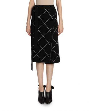 Windowpane Print Wrapped Skirt