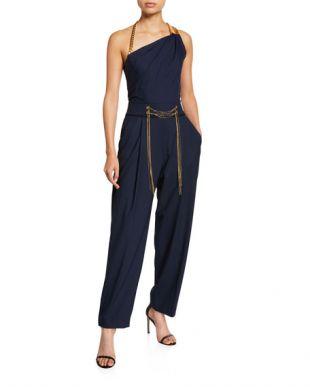 Navy Asymmetrical Chain Strap Jumpsuit