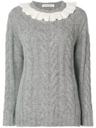 Frill Trim Cable Knit Sweater - Farfetch