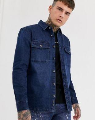 Denim worker shirt in mid blue