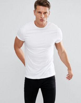 ASOS DESIGN - T-shirt ras de cou à manches retroussées - Blanc | ASOS