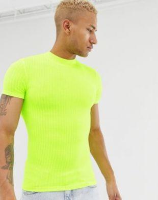 ASOS DESIGN - T-shirt moulant en jersey à col montant - Jaune fluo | ASOS
