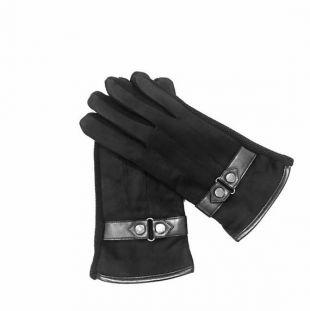 Gants de contact noirs pour hommes. En daim végétalien. Paume avec des points d'adhérence. Le pointeur et le doigt de la pointe sont compatibles avec l'écran tactile.