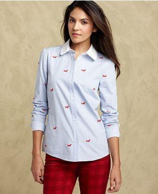 TOMMY HILFIGER Embroidered Dachshund Dog Button Down Shirt Blue Blouse M Medium    eBay