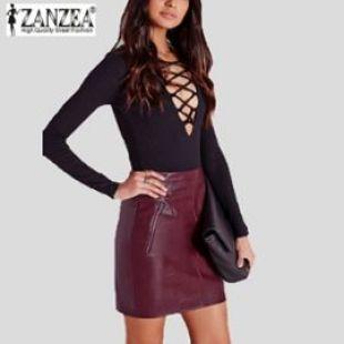 Fashion Femme Mini robe de Soirée Simili cuir OL Formelle Mode Jupe