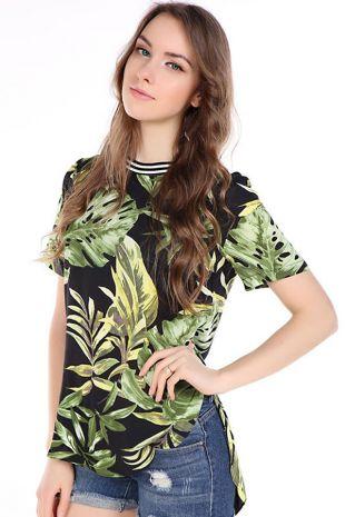 Green Leaf Printed High Low Loose T shirt