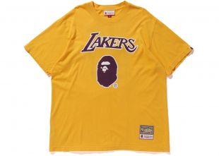 BAPE x Mitchell & Ness Lakers Tee Yellow