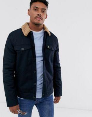 Farah Vadher borg collar jacket in navy