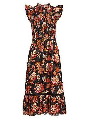 Black Floral Smocked Dress