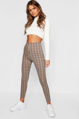 Pantalons ajustés à carreaux | Boohoo