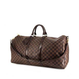 Sac de voyage Louis Vuitton Keepall 55 cm en toile damier enduite marron et cuir marron