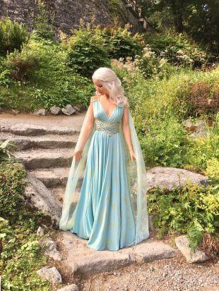 Daenerys Qarth Costume    Blue Dress with Belt   Thrones Cosplay