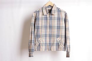 vintage 90s GRUNGE plaid BLUE & orange bomber coat jacket -- size medium cotton coat