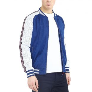 Full Zip Mesh Varsity Bomber Jacket Coat Navy