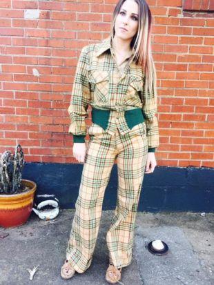 Vintage à carreaux deux pièces costume/veste/unisexe/Chessking/Medium