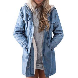 FRAUIT-Frauen Jacken Mantel - Abrigo - Parka - para Mujer Azul M