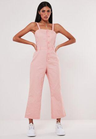 Pink Dungaree Button Culotte Jumpsuit