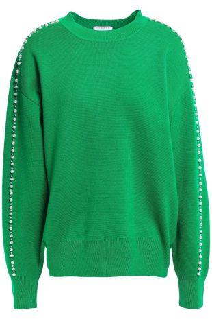 Green pearl embellished sweater of Herself Judge (Candace