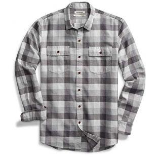 Men's Slim-Fit Long-Sleeve Plaid Herringbone Shirt