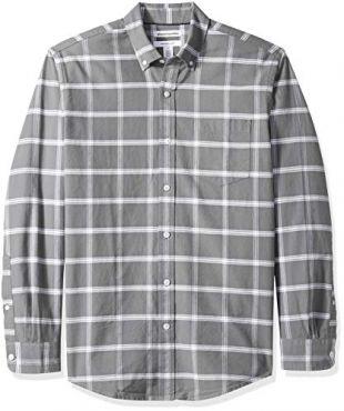 Men's Regular-Fit Long-Sleeve Windowpane Pocket Oxford Shirt