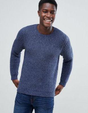 Heavyweight fisherman rib sweater in navy