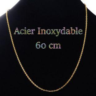 Collier en acier inoxydable plaqué or 60 cm maille 3 x 2.5 mm