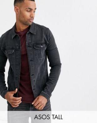 Tall skinny western denim jacket in washed black