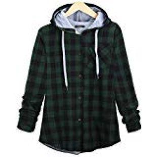 Women's Soft Casual Mid-Long Plaid Checker Pattern Hood Button Down Shirt Top (us l = Label 2XL, Green)