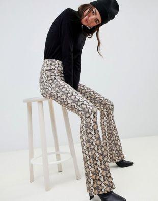 Snake Print Flare Pants