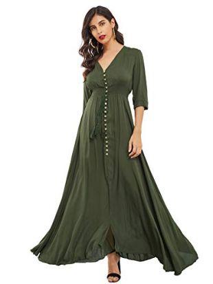 Milumia Women's Button Up Split Floral Print Flowy Party Maxi Dress Army Green XX-Large