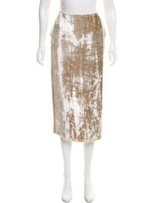 Velvet Accented Satin Skirt