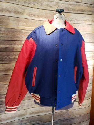 Vintage années 1980 ère JR Stone rouge et bleu cuir et veste de lettres en laine en grande taille de condition L grande EXPÉDITION GRATUITE