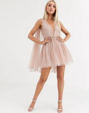 ASOS DESIGN embellished cape plunge tulle mini dress | ASOS