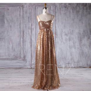 Bridesmaid Dress Gold Sequin Wedding Dress Spaghetti Strap Party Dress Ruched Sweetheart Long Evening Dress Luxury A-Line Maxi Dress(LQ249)