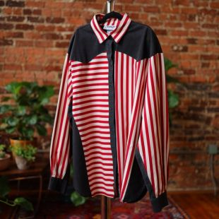 vintage 80s Femme Western Shirt Banjo Dallas TX Large Made In USA Stripes Rodeo Black Crimson Off White Country Rockabilly Cowgirl Red