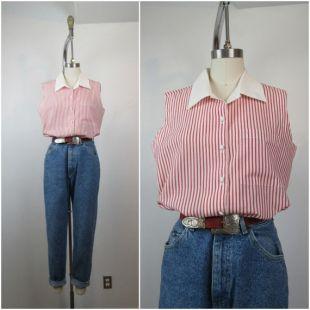 70s 80s Rouge et Blanc Candy Stripe Sleeveless Cotton Poly Blend Button Front Collard Top Blouse Shirt (fr) M L