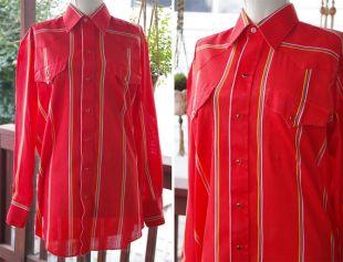 AMARILLO 1980's vintage Men's 30's vintage Men's Bright Tomato Red Striped Cowboy Shirt with Pearl Snaps // par Panhandle Slim // taille 33 // 15.5 Medium