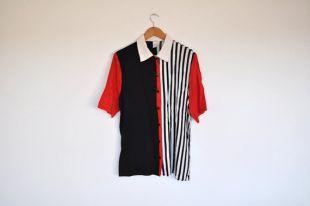 Vintage Colorblock blanc et rouge noir bouton géométrique rayé à manches courtes chemise