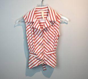 Vintage 70s Rouge et Blanc Rayé Sleeveless Vest Top