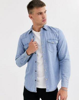 Pull&Bear - Chemise en jean style western - Bleu | ASOS