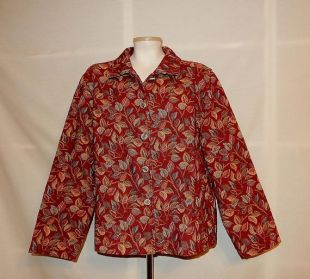 Sz XL 1X Brocade Tapestry Mark Fore - Strike Jacket - Plus Taille 16 18 - Floral Leaf Design - Wear to Work or Casual Everyday - Made in USA