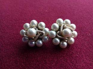 Vintage Antique Art Déco Period Genuine Pearl Cluster Boucles d'oreilles w/Silver Rope - Japon