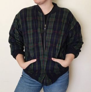 Vintage 1990s Green Plaid Zip Up Veste