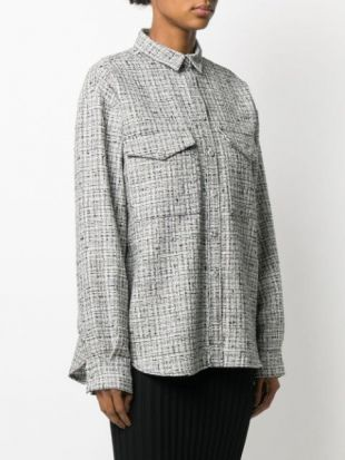 Grey Houndstooth Boxy-Fit Shirt