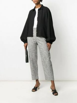 Grey Houndstooth Straight-Leg Trousers