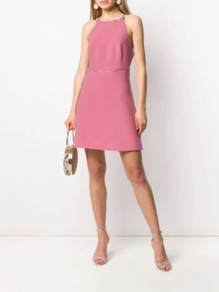Crystal Trim Pink Mini Dress
