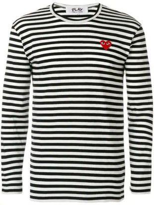 Comme Des Garçons Play round neck striped jumper