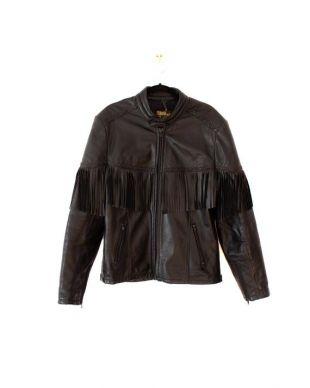 Veste de moto en cuir noir Cuir authentique Wolff vintage ( Fermeture à glissière YKK Fabriqué au Canada ( Taille 42