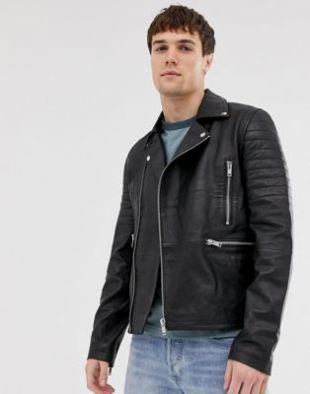 Barney's Originals - Blouson style motard matelassé zippé en cuir véritable | ASOS